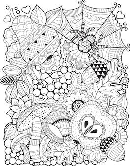 Livro de colorir para adultos. doodle de flores de fantasia em um fundo branco