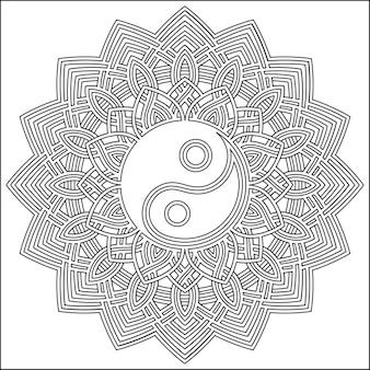 Livro de colorir para adultos em estilo oriental com enfeites