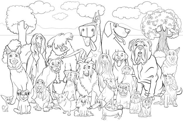 Livro de colorir para cães de raça pura