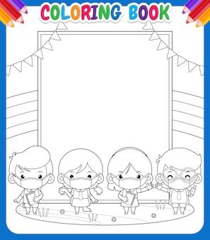 Livro de colorir para crianças. aluno com máscara médica na frente grande banner