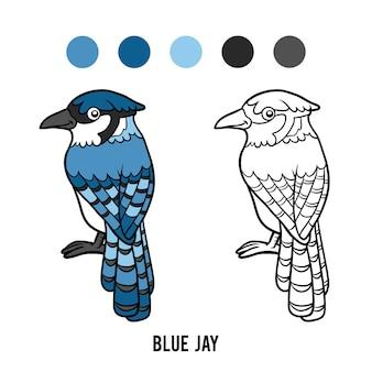 Livro de colorir para crianças, blue jay