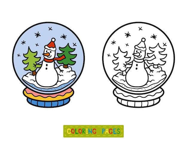 Livro de colorir para crianças, bola de neve com boneco de neve