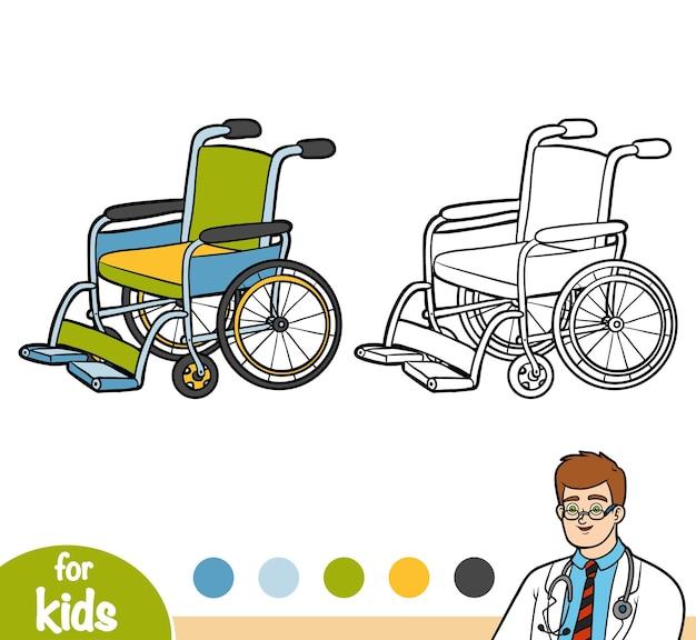 Livro de colorir para crianças, cadeira de rodas