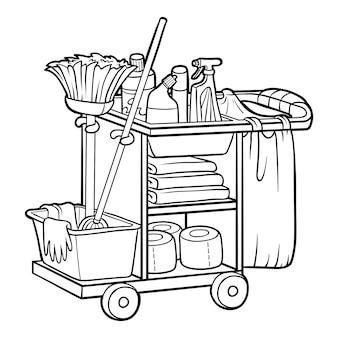 Livro de colorir para crianças, carrinho de empregada