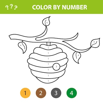 Livro de colorir para crianças, colmeia de abelhas engraçada - colorir por números. jogo educativo para crianças. pinte a imagem por número.