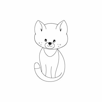 Livro de colorir para crianças com a foto de um gato. um gatinho desenhado com uma linha de contorno preta. animais para crianças. cartões com animais de estimação.