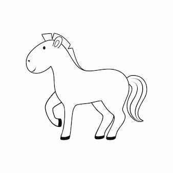 Livro de colorir para crianças com a imagem de um cavalo. um cavalo desenhado com uma linha de contorno preta. animais para crianças.