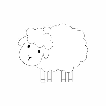 Livro de colorir para crianças com a imagem de uma ovelha. um ram desenhado com uma linha de contorno preta. ilustração vetorial no estilo doodle.