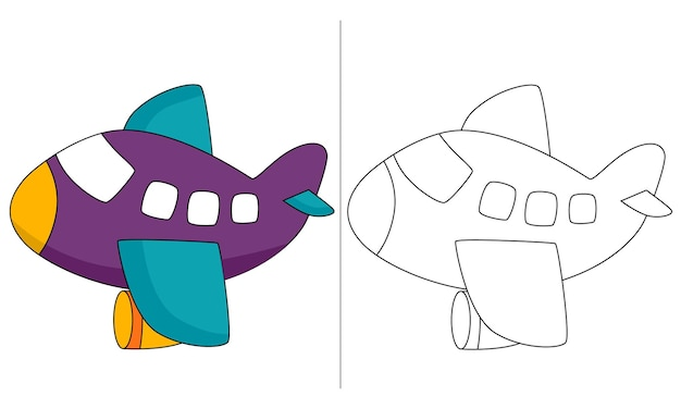 Livro de colorir para crianças com ilustração roxa
