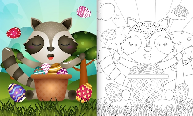 Livro de colorir para crianças com o tema feliz dia de páscoa com guaxinim no ovo balde