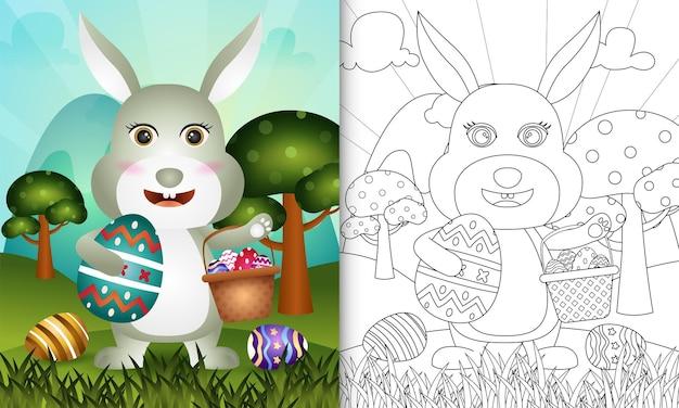 Livro de colorir para crianças com o tema feliz dia de páscoa com um coelho fofo segurando o ovo de balde e o ovo de páscoa