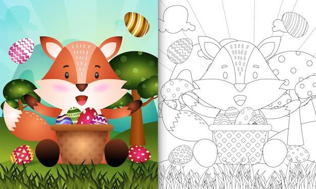 Livro de colorir para crianças com o tema feliz dia de páscoa com uma linda raposa no ovo balde
