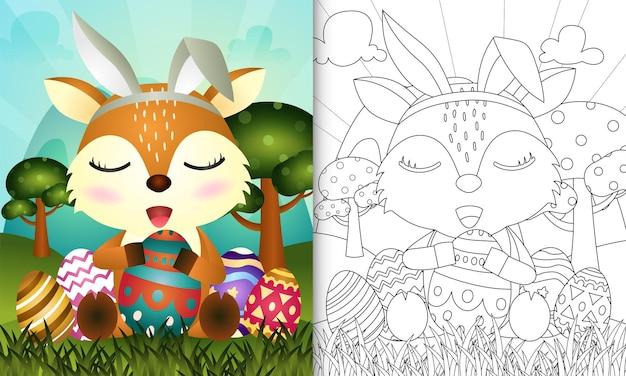 Livro de colorir para crianças com o tema páscoa com um cervo fofo usando orelhas de coelho