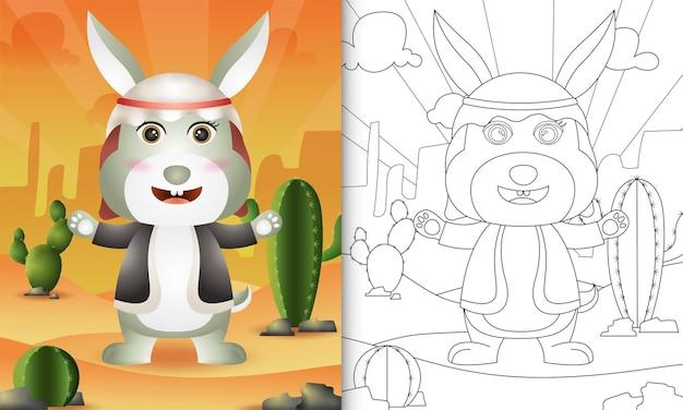 Livro de colorir para crianças com o tema ramadã com um coelho fofo usando o traje tradicional árabe