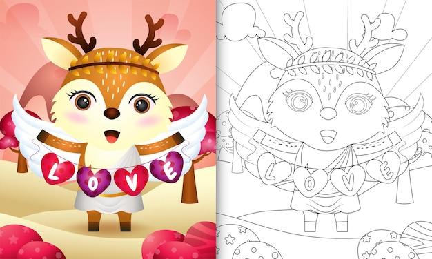 Livro de colorir para crianças com um anjo de veado fofo usando fantasia de cupido segurando uma bandeira em forma de coração