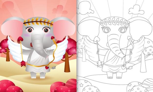 Livro de colorir para crianças com um anjo elefante fofo usando fantasia de cupido com o tema do dia dos namorados