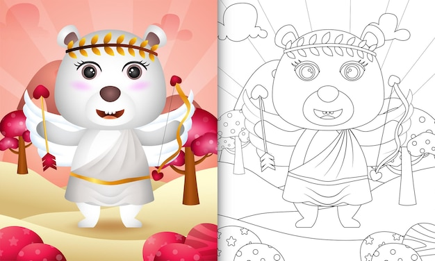 Livro de colorir para crianças com um anjo fofo urso polar usando fantasia de cupido com o tema do dia dos namorados