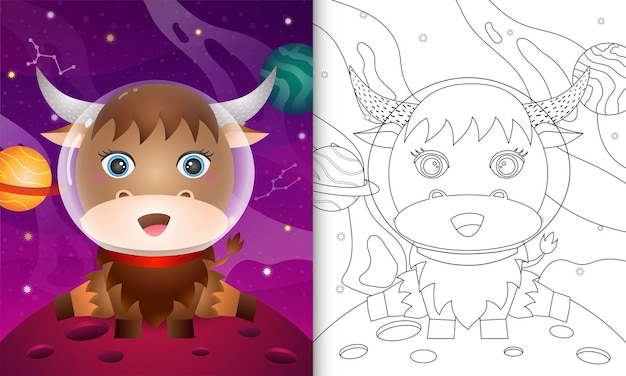 Livro de colorir para crianças com um búfalo fofo na galáxia espacial