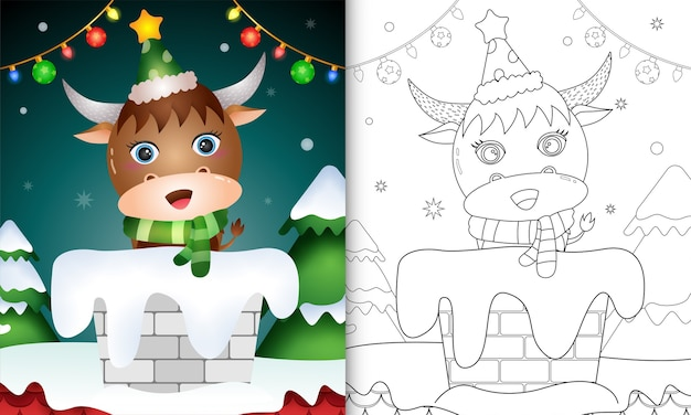 Livro de colorir para crianças com um búfalo fofo usando chapéu e lenço na chaminé