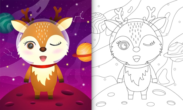 Livro de colorir para crianças com um cervo fofo na galáxia espacial