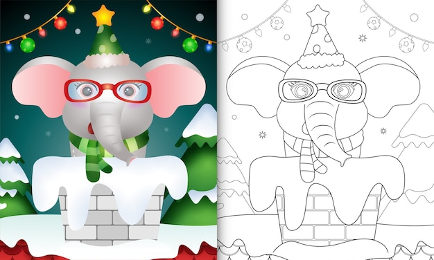 Livro de colorir para crianças com um elefante fofo usando chapéu e lenço na chaminé