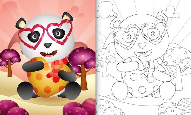 Livro de colorir para crianças com um lindo panda abraçando o coração com o tema do dia dos namorados