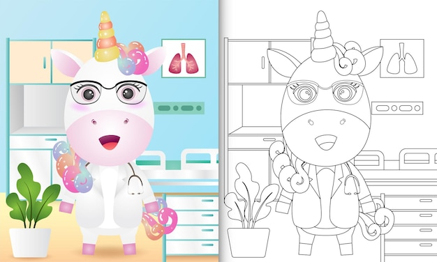 Livro de colorir para crianças com um personagem médico unicórnio fofo