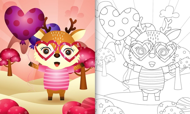 Livro de colorir para crianças com um veado fofo segurando um balão com o tema do dia dos namorados