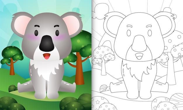 Livro de colorir para crianças com uma ilustração de um coala fofo