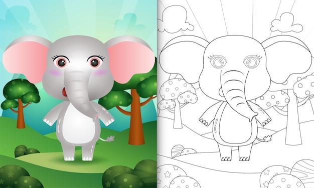 Livro de colorir para crianças com uma ilustração de um elefante fofo
