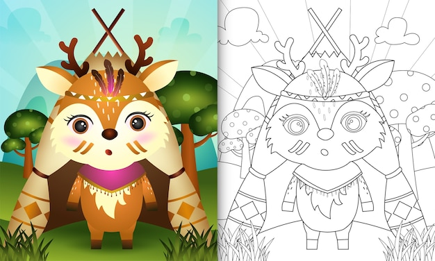 Livro de colorir para crianças com uma ilustração de um giro veado boho tribal