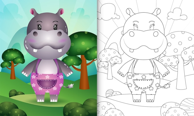 Livro de colorir para crianças com uma ilustração de um hipopótamo fofo