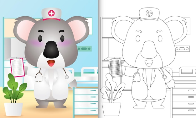 Livro de colorir para crianças com uma ilustração de uma enfermeira coala fofa