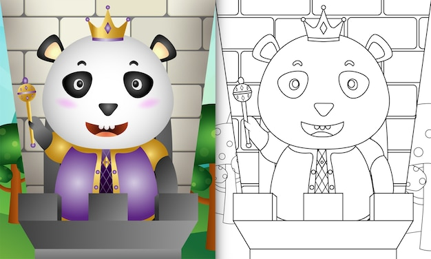 Livro de colorir para crianças com uma ilustração fofa do personagem rei panda