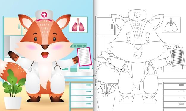 Livro de colorir para crianças com uma personagem de enfermeira raposa fofa