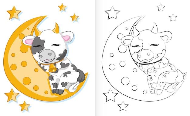 Livro de colorir para crianças cute cartoon bull está dormindo na lua