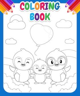Livro de colorir para crianças. desenho adorável de família de pinguins fofos