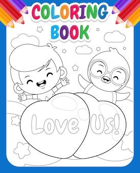 Livro de colorir para crianças desenhos animados menino bonito e pinguim voando com balão de amor
