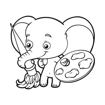 Livro de colorir para crianças, elefante com tintas e pincel