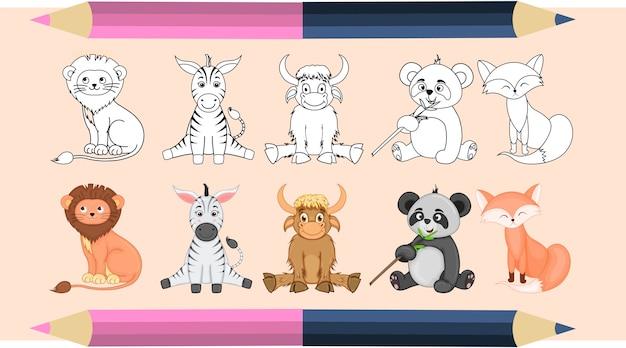 Livro de colorir para crianças em vetor. um conjunto de animais fofos. versões monocromáticas e coloridas. coleção infantil.