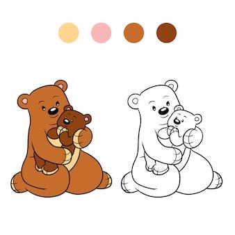 Livro de colorir para crianças, família de ursos