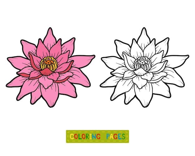 Livro de colorir para crianças, flor de lótus