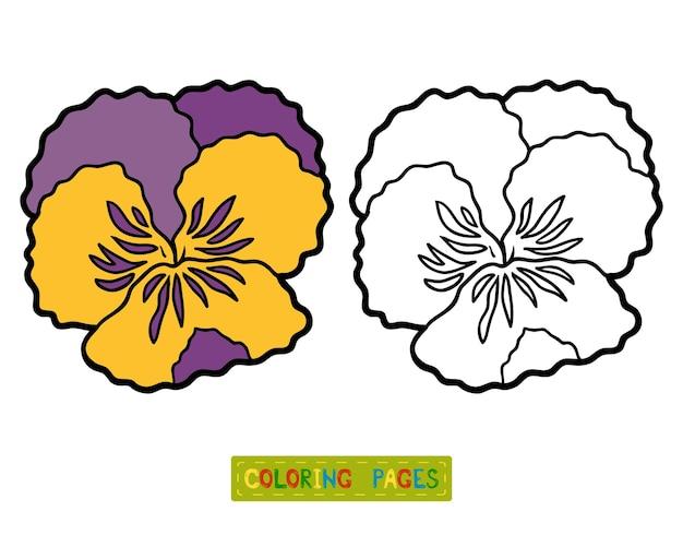 Livro de colorir para crianças, flor pansy
