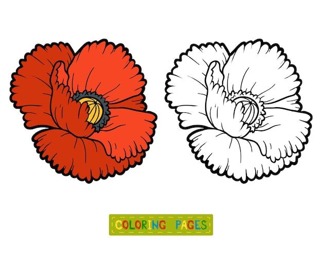 Livro de colorir para crianças, flor poppy