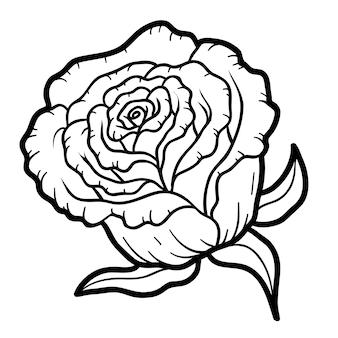 Livro de colorir para crianças, flor rosa