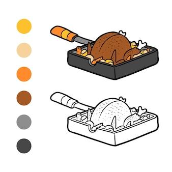 Livro de colorir para crianças, frango assado na frigideira
