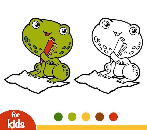 Livro de colorir para crianças, frog