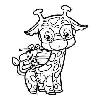 Livro de colorir para crianças, girafa e livros