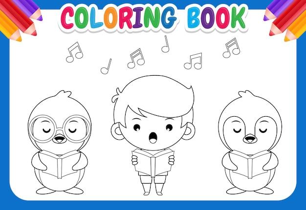 Livro de colorir para crianças. grupo de pinguins fofos e menino cantando em uma ilustração de coro