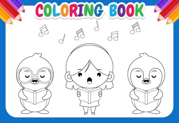 Livro de colorir para crianças. grupo de pinguins fofos e uma garota cantando em um coro
